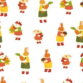 Nahtloses muster mit niedlichen handgezeichneten cartoon-hasen-waldtier des hasenherbstes