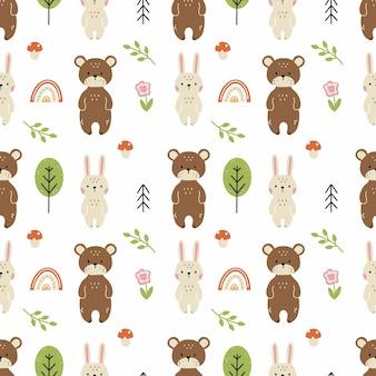 Nahtloses muster mit niedlichen hasen und bären. hintergrund mit waldtieren zum nähen von kinderkleidung und bedrucken von stoffen.