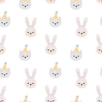 Nahtloses muster mit niedlichen kaninchen und katzen