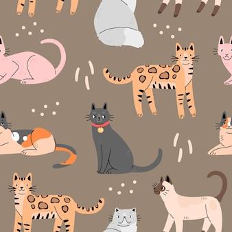 Nahtloses muster mit niedlichen katzen auf einem braunen hintergrund hintergrund mit tieren vektorillustration