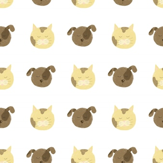 Nahtloses muster mit niedlichen katzen- und hundegesichtern
