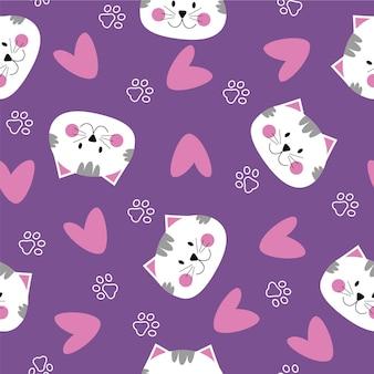 Nahtloses muster mit niedlichen katzengesichtsherzen katzenpfoten lila rosa und weißen farben