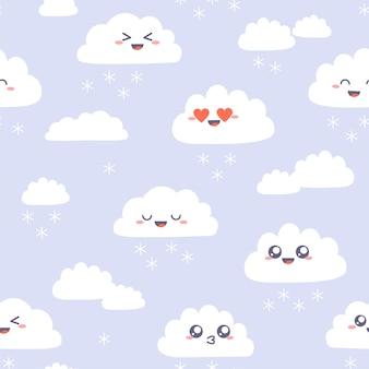 Nahtloses muster mit niedlichen kawaii wolken. einfache wolkenglückliche charaktere mit schneeflocken auf purpur