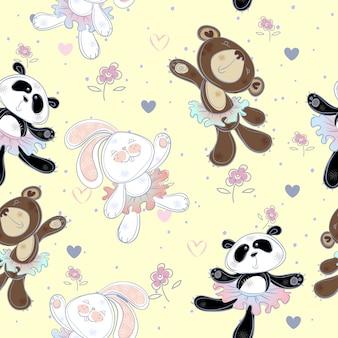 Nahtloses muster mit niedlichen kleinen tieren. der hase der bär und panda. ballerinas
