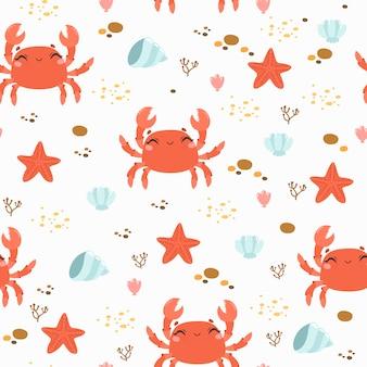 Nahtloses muster mit niedlichen krabben- und seesteinen