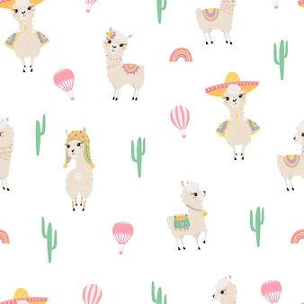 Nahtloses muster mit niedlichen lamas, luftballon und kakteen. hintergrund mit lustigen alpaka-babys für textilien, kinderkleidung, tapete. vektorillustration
