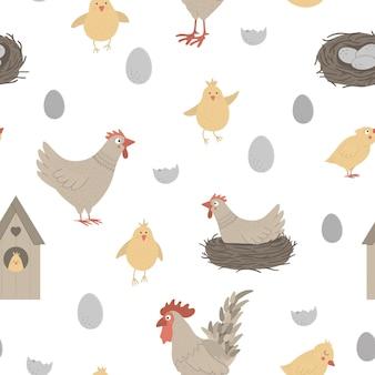 Nahtloses muster mit niedlichen lustigen henne, hahn, kleinen küken, eiern, nest. lustiger sich wiederholender hintergrund des frühlings oder ostern. digitales papier mit christlichen feiertagselementen