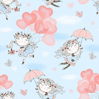 Nahtloses muster mit niedlichen mädchen, die auf luftballons und regenschirmen fliegen.