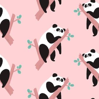 Nahtloses muster mit niedlichen pandabären