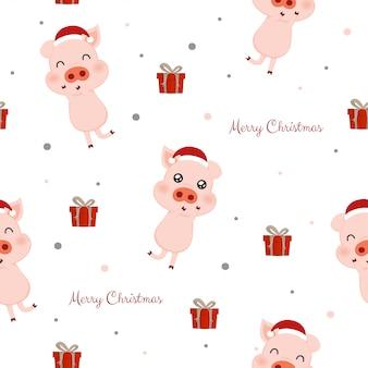 Nahtloses muster mit niedlichen schweinen und geschenkboxen.