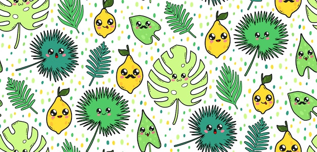 Nahtloses muster mit niedlichen tropischen blättern und zitronen in japan-kawaii art. glückliche zeichentrickfilm-figuren mit lustiger gesichtsillustration.