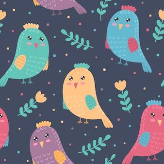 Nahtloses muster mit niedlichen vögeln