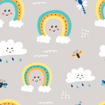 Nahtloses muster mit niedlichen wolken und regenbogen.
