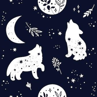 Nahtloses muster mit niedlicher boho wolf tier silhouette, sterne und mond. schwarz-weiß-farben