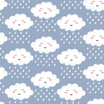 Nahtloses muster mit niedlicher glücklicher karikatur kawaii wolke