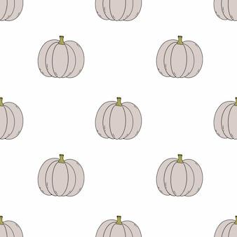 Nahtloses muster mit niedlicher kürbisgekritzelart. herbsternte. hintergrund zum nähen von kinderkleidung und bedrucken von stoffen. geschenkpapier halloween-feiertag.
