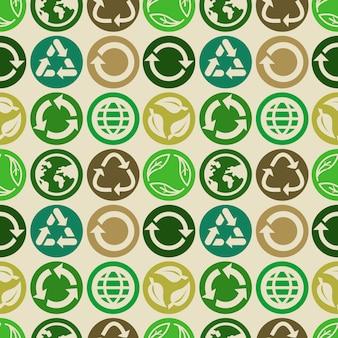 Nahtloses muster mit ökologiezeichen und -ikonen