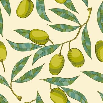 Nahtloses muster mit olivenzweig und grüner olive