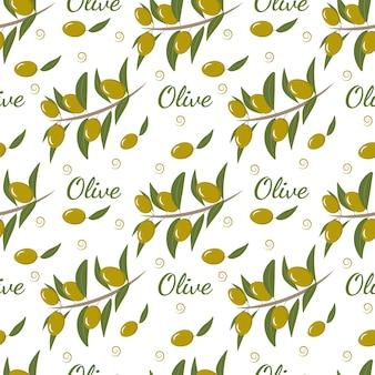 Nahtloses muster mit olivenzweig und oliven für dekortapetenpapierverpackungen