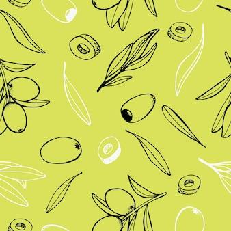 Nahtloses muster mit olivenzweigen und blätterngesunder lebensstil