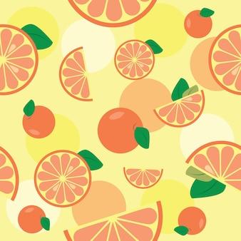 Nahtloses muster mit orange oder grapefruit. perfekt für tapeten, muster, webseitenhintergründe, textilien.