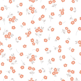 Nahtloses muster mit orangefarbenen blumen