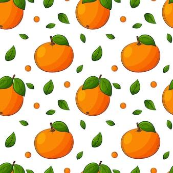 Nahtloses muster mit orangen, mandarinen und blättern. helles, saftiges, sommerliches, fruchtiges muster.
