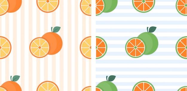 Nahtloses muster mit orangen und blättern. texturillustration.