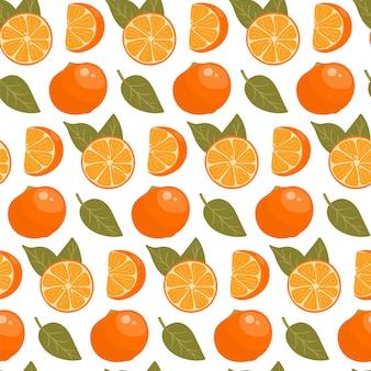 Nahtloses muster mit orangen und blättern.
