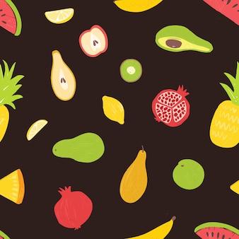 Nahtloses muster mit organischen reifen saftigen tropischen exotischen früchten