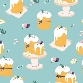 Nahtloses muster mit osterkuchen und gemalten eiern