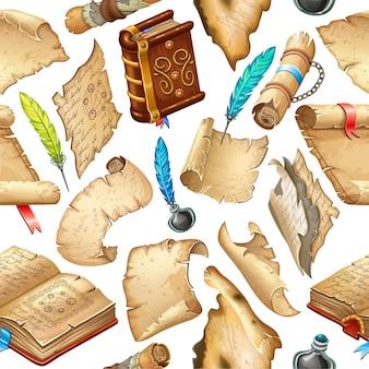 Nahtloses muster mit papiergeldkisten mit schriftrollen