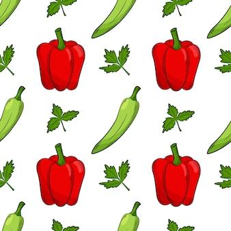 Nahtloses muster mit paprika und petersilie. farbelemente im linearen stil