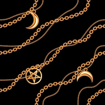 Nahtloses muster mit pentagramm- und mondanhänger auf goldener metallischer kette