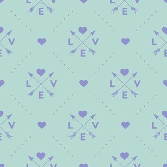 Nahtloses muster mit pfeil-, herz- und wortliebe auf einem türkisfarbenen hintergrund für valentinstag. illustration.
