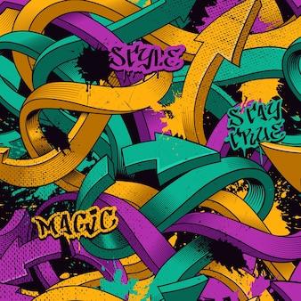 Nahtloses muster mit pfeilen aus graffiti und buchstaben. bunter hintergrund mit schmutzbeschaffenheit.