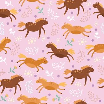 Nahtloses muster mit pferden auf lila
