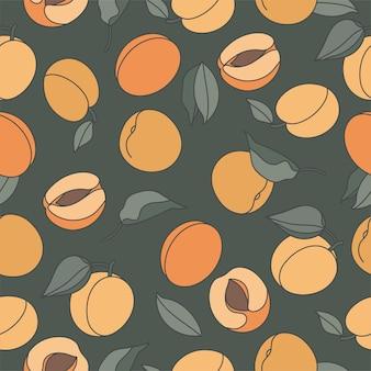 Nahtloses muster mit pfirsichen. trendige hand gezeichnet.