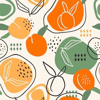 Nahtloses muster mit pfirsichen. trendige handgezeichnete texturen.