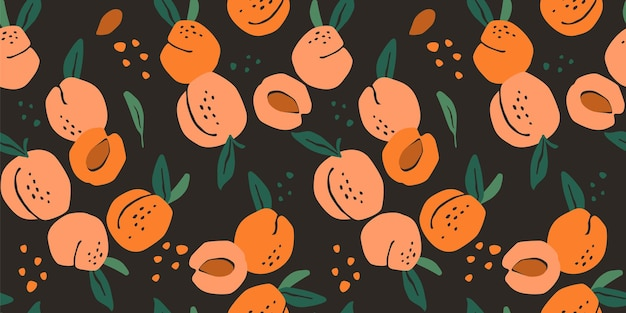Nahtloses muster mit pfirsichen. trendy hand gezeichnet. modernes abstraktes design für papier, umschlag, stoff, innendekoration und andere benutzer.