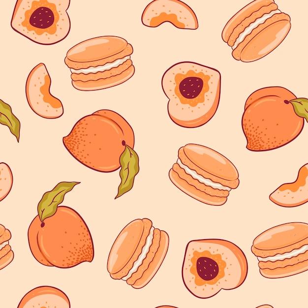 Nahtloses muster mit pfirsichen und makronen. vektorgrafiken.