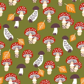 Nahtloses muster mit pilzen. ideal für stoff, textilien, geschenkpapier.