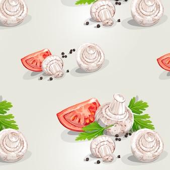 Nahtloses muster mit pilzen und tomaten