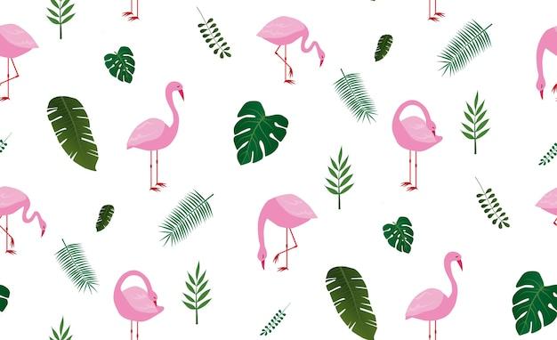 Nahtloses muster mit ping flamingobindung und tropischem blatt