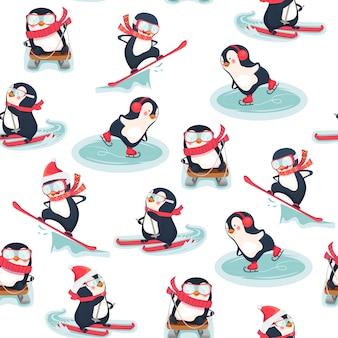 Nahtloses muster mit pinguinen. niedliche pinguin-karikaturillustration. . freizeitaktivitäten im winter.