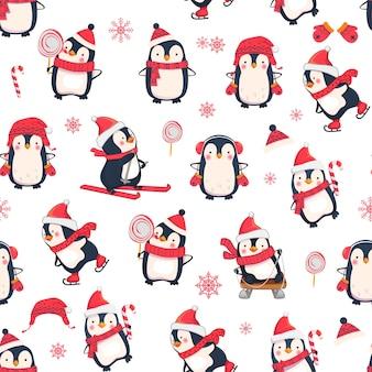 Nahtloses muster mit pinguinen. weihnachts-tiermuster.