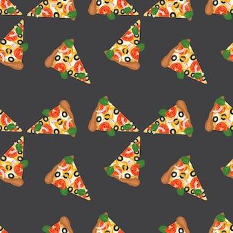 Nahtloses muster mit pizza-fast-food-scheiben