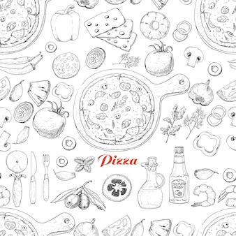 Nahtloses muster mit pizza und verschiedenen produkten