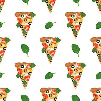 Nahtloses muster mit pizzastücken.