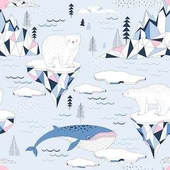 Nahtloses muster mit polar bea, blauwal, ozean, bergen und eisbergblöcken der eisnordlandschaft